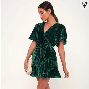 NWT BB Dakota green velvet wrap dress